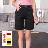 春夏韓版直筒五分休閒褲女學生短褲寬鬆顯瘦百搭闊腿褲梗豆物語