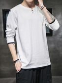 男士長袖t恤秋季新款潮流上衣服秋裝寬鬆純棉體恤打底衫衛衣 限時熱賣