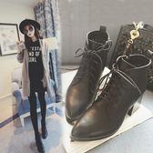 (全館一件免運費)~(NN-7799)復古百搭尖頭粗跟高跟馬丁靴韓版單靴裸靴