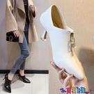 高跟鞋 2021冬季新款尖頭細跟單鞋韓版時尚短靴高跟加絨小跟休閒百搭女鞋寶貝計畫 上新