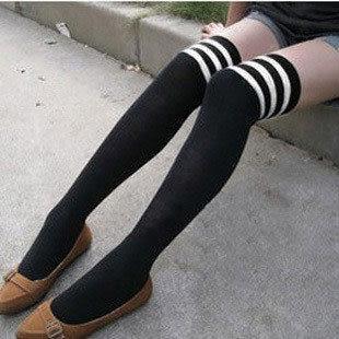 過膝高筒襪 及膝襪日系原宿海軍風 白條紋長筒襪 學生襪子【B7010】