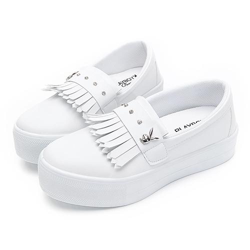 PLAYBOY俏甜專屬 流蘇水鑽厚底休閒鞋-白(Y6212)