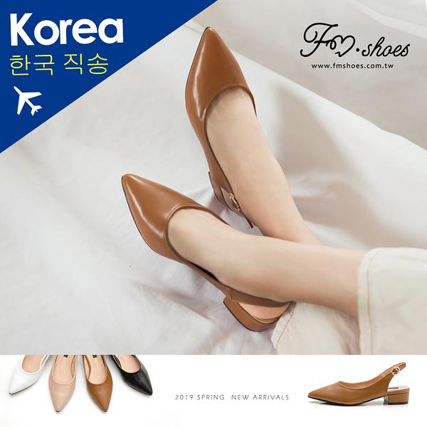 跟鞋.尖頭後踝帶低跟鞋(白、杏)-FM時尚美鞋-韓國精選.Journey