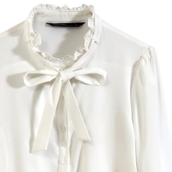 【MASTINA】荷葉領綁帶上衣-白 0612