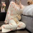 睡衣 珊瑚絨長袖睡衣保暖套裝秋冬甜美日系休閒家居服女可外穿 韓菲兒