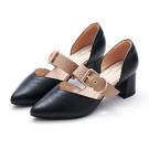 優雅成熟的尖頭 拼色的飾扣造型繫帶 是特色亮點 鞋頭內裡 使用軟墊材質,緩衝腳趾前端壓力