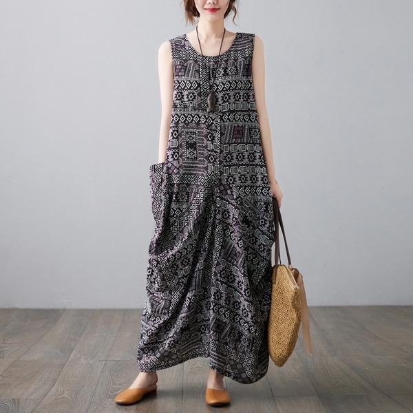 中大尺碼 無袖洋裝 復古民族風印花無袖連身裙大碼女裝寬鬆休閒遮肚子圓領套頭長裙子