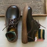 娃娃鞋 日系文藝復古chic圓頭系帶厚底大頭鞋春新款學生百搭舒適娃娃鞋女 2色35-40