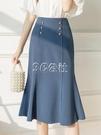 魚尾裙 遮胯西裝半身裙女早春裝新款高腰顯瘦A字魚尾裙氣質半裙OL