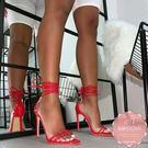 高跟涼鞋 歐美款馬甲綁帶漆皮尖頭細跟 高跟鞋 晚宴鞋 新娘鞋 35-40*KWOOMI-A93