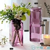 簡約北歐水培瓶擺件插花器方形玻璃花瓶透明【千尋之旅】