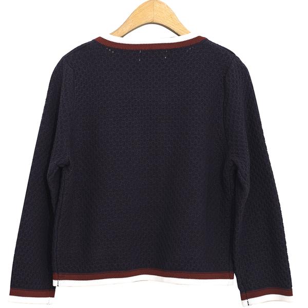 秋冬單一特價[H2O]小香風特殊組織雙色配條八分袖毛衣外套 - 藍/白色 #9630001