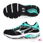 美津濃 MIZUNO 女慢跑鞋 WAVE IMPETUS 4 (W) (黑/綠)橡膠大底寬楦路跑鞋【 胖媛的店 】