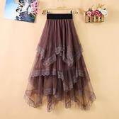 長裙 不規則網紗蕾絲拼接半身裙女中長款高腰修身顯瘦小仙女公主蛋糕裙 百分百