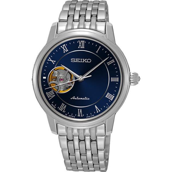 SEIKO 精工 Presage 羅馬時光開芯機械女錶-藍/34mm 4R38-01A0B(SSA857J1)