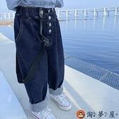 女童背帶褲運動褲子春秋款韓版潮兒童牛仔褲【淘夢屋】