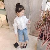 爆款熱銷女童襯衫中小女兒童白襯衫秋裝新款韓版寬鬆寶寶公主風蕾絲花邊襯衣聖誕節
