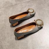 夏秋方頭單鞋女淺口方扣低跟粗跟高跟鞋3cm復古奶奶鞋工作上班鞋『小宅妮時尚』