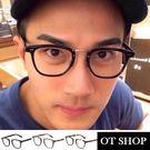 OT SHOP眼鏡框‧韓星顯小臉中性歐美潮流余文樂平光眼鏡‧現貨‧亮黑‧S10