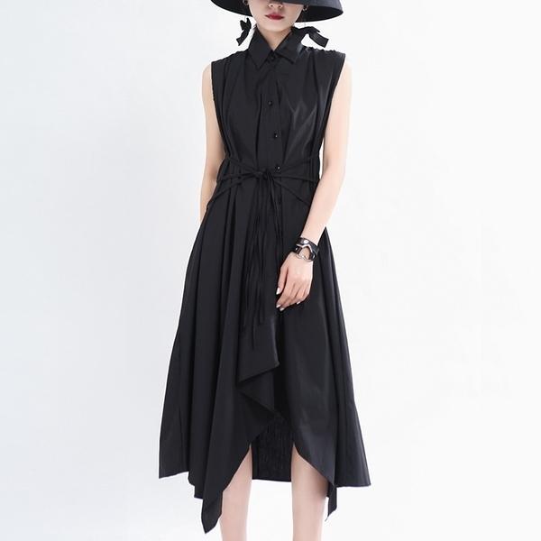 無袖洋裝-純色繫帶收腰不規則女連身裙2色73yh5【巴黎精品】