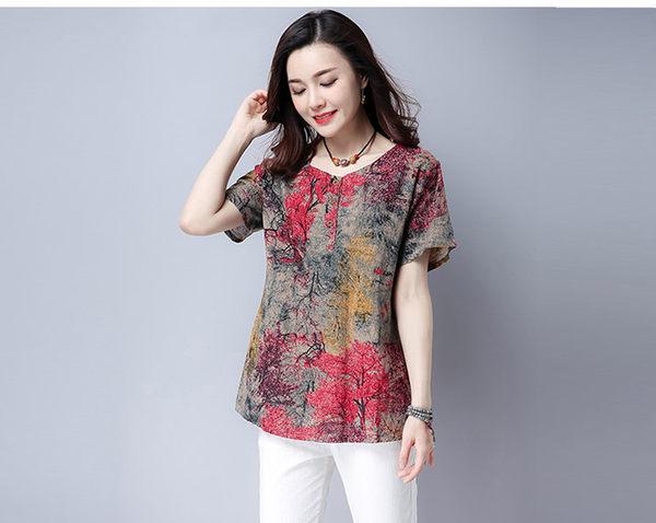 找到自己 G5 韓國時尚 夏季 大尺碼 女裝 棉麻 印花 短袖 寬鬆 T恤 顯瘦 上衣 打底衫