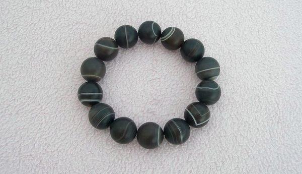 【歡喜心珠寶】【老礦至純藥師珠圓珠14mm手鍊】14顆.天然縞瑪瑙老礦西藏天珠「附保証書」
