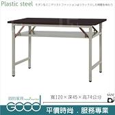 《固的家具GOOD》281-15-AX (塑鋼材質)折合式4尺直角會議桌-胡桃色