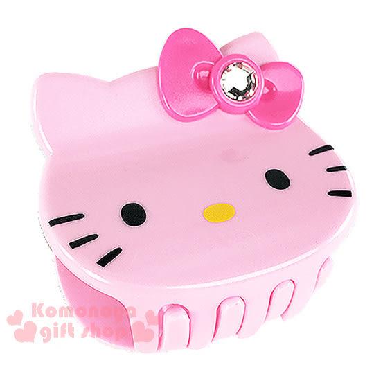 〔小禮堂〕Hello Kitty 造型鯊魚夾《粉.大臉.粉蝴蝶結》甜美可愛8021735-67720