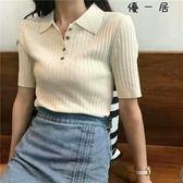 修身顯瘦豎螺紋翻領針織衫短袖polo衫Y-4260