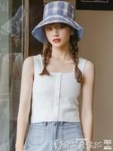 針織背心 紫色吊帶針織方領背心女夏內搭韓版短款上衣外穿打底衫女 爾碩 交換禮物