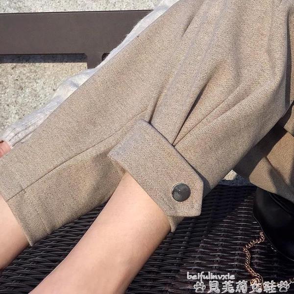 哈倫褲毛呢褲束腳工裝女褲高腰寬鬆bf顯瘦呢子2020新款春秋冬休閒哈倫褲 新品