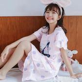 夏季睡衣睡衣睡裙女公主甜美學生短袖夏天長款連身裙  【全網最低價】