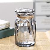 彩色歐式簡約水培玻璃花瓶透明水養綠蘿富貴竹植物花盆桌面插花瓶