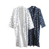 日式純棉布浴袍男春夏薄款睡袍長款和服浴衣清新開衫和風外套家居 艾尚旗艦店
