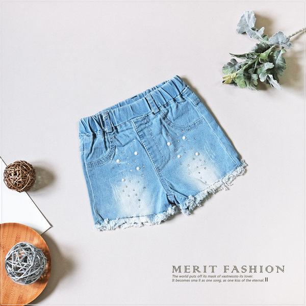 淺刷色珍珠貼鑽抽鬚短褲 牛仔短褲 淺色 丹寧 刷白 刷色 女童 百搭 休閒 夏天 哎北比童裝
