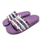 adidas 拖鞋 Adilette W 紫 白 印花圖騰 大眼睛 女鞋 運動拖鞋 涼拖鞋【PUMP306】 CG6468