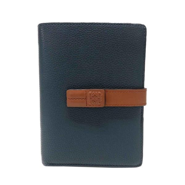 LOEWE 羅威 藍色x棕色牛皮扣式中夾 Medium Vertical Wallet【二手名牌BRAND OFF】