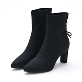 MICHELLE PARK 名模曲線 後綁帶高跟五分襪靴-黑