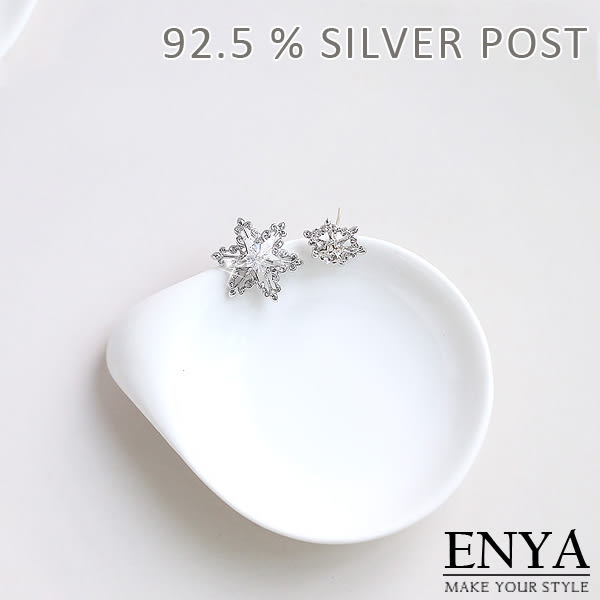 925銀 不對稱 施華洛世奇水鑽耳環 Enya恩雅(正韓飾品)【EASS8】