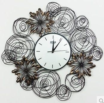 鐵藝圓形掛鐘時尚客廳鐘表簡約藝術新房裝飾靜音掛表-set007