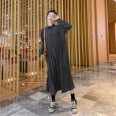 洋裝中大尺碼連身裙M-4XL春款紅色波點襯衫裙長袖拼接中長款百褶襯衣連衣裙打底裙.4F039.依品國際