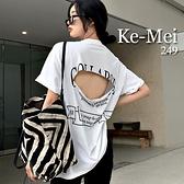 克妹Ke-Mei【AT67944】COLLAPS個性風背後單槓破損字母寬鬆T恤上衣