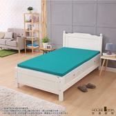 House Door 吸濕排濕布套 4cm乳膠床墊保潔組-單大3.5尺(青碧藍)
