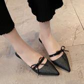 5cm細跟小根尖頭蝴蝶結半拖女單鞋一字尖頭中跟復古高跟鞋女涼鞋 森雅誠品