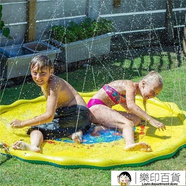 夏季兒童玩水噴水池游戲墊沙灘墊草坪充氣灑水戲水墊玩具戶外浴缸 樂印百貨