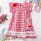 花朵蝶結小兔子紅白格紋洋裝(290287...