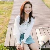 雪紡襯衫女韓版寬鬆春裝2019新款白色襯衣女仙女范長袖v領上衣服