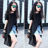 女童洋氣短袖黑色T恤純棉兒童半袖不規則上衣夏季時尚潮 道禾生活館