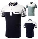 FINDSENSE Z1 日系 流行 男 時尚 大碼 立領 拼色條紋 短袖T恤