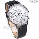 Kenneth Cole 紳士優雅 髮絲紋 三眼多功能錶 男錶 白色 真皮錶帶 KC50801004
